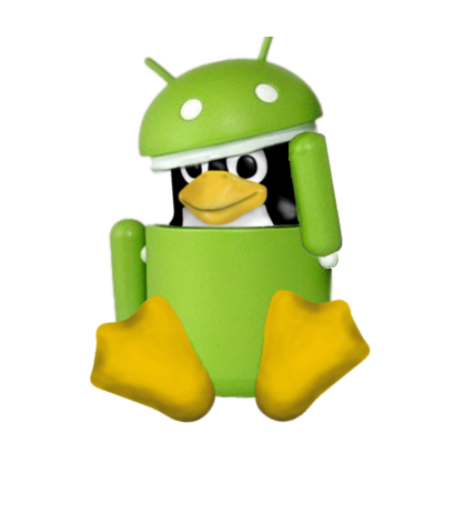 Tux in android robot costume